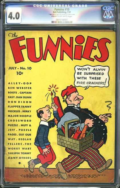 CGC Graded Comics - Funnies #10 (CGC) - Men - Fireworks - Basket - Flame - Hat