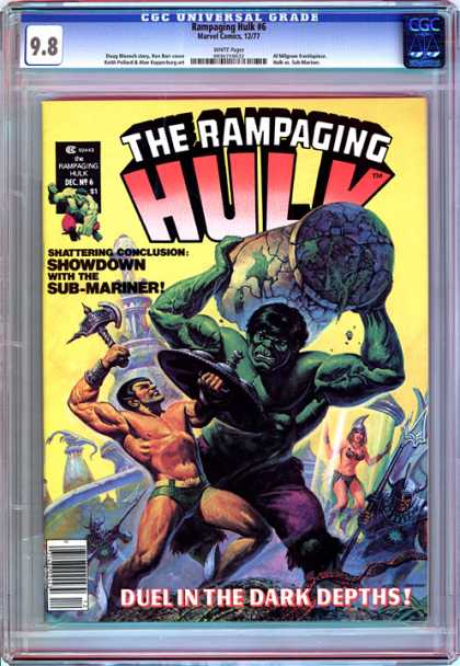 CGC Graded Comics - Rampaging Hulk #6 (CGC) - Hulk - Axe - Pillar - Submariner - Showdown