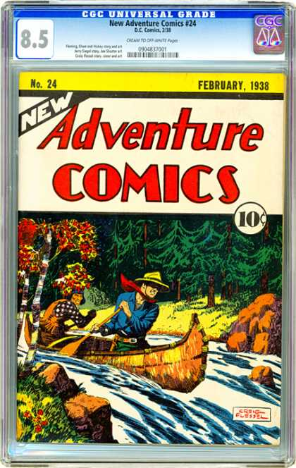 CGC Graded Comics - New Adventure Comics #24 (CGC) - No 24 - February 1938 - Canoe - Yellow Hat - Red Scarf