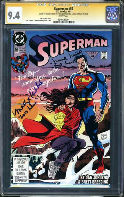 CGC Graded Comics - Superman #59 (CGC) - Super Date - Unusual Circumstances For Lovers - Escape A Tale Of Privacy - Out Of This World - Lovers Lane