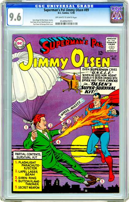CGC Graded Comics - Superman's Pal Jimmy Olsen #89 (CGC) - Jimmy Olsen - Parachute - Siren Ring - Superman - Helicopter