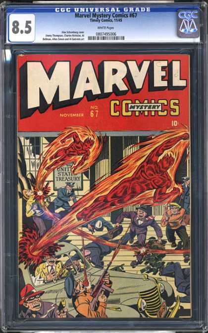CGC Graded Comics - Marvel Mystery Comics #67 (CGC) - Human Torch - United States Treasury - Machine Guns - Gunfire - Car
