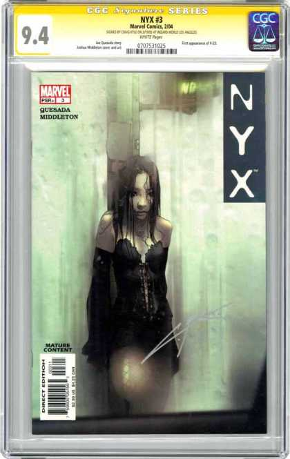 CGC Graded Comics - NYX #3 (CGC) - Nyx 3 - Marvel Comics - Girl - Steamy Window - Quesada Middleton