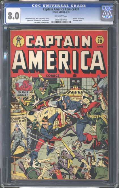 CGC Graded Comics - Captain America Comics #39 (CGC) - Japanese - Fight Scene - Bucky - The Human Torch - Baseball Bat