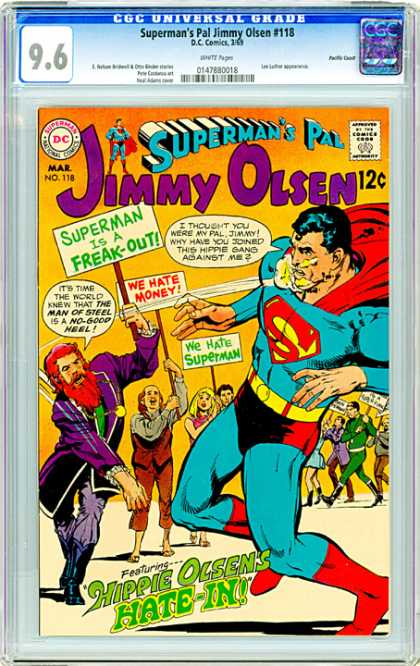 CGC Graded Comics - Superman's Pal Jimmy Olsen #118 (CGC) - Supermans Pal - Jimmy Olsen - Hippie Olsens Hate-in - Hippie Gang - Superman