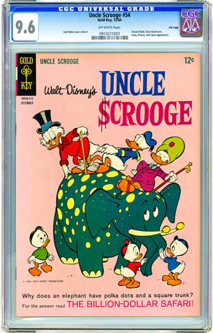 CGC Graded Comics - Uncle Scrooge #54 (CGC) - Elephant - Yellow Spots - Donald Duck - Huey - The Billion Dollar Safari