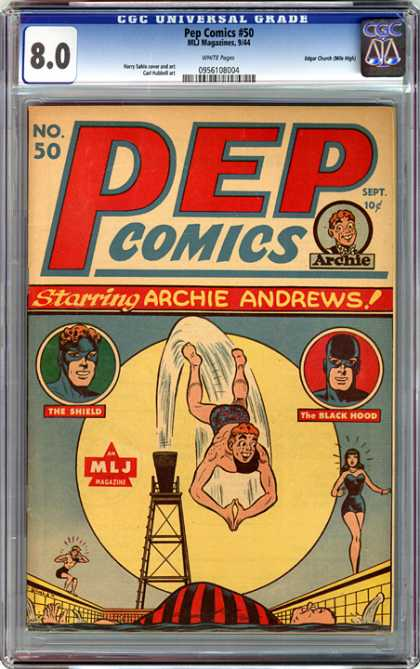 CGC Graded Comics - Pep Comics #50 (CGC) - Archie Andrews - The Shield - The Black Hood - Pool - Diving Board