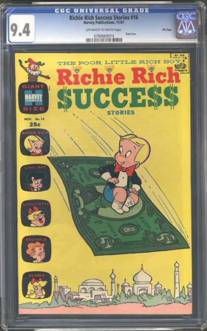 CGC Graded Comics - Richie Rich Success Stories #16 (CGC) - Richie Rich - The Poor Little Rich Boy - Gloria - Reginald - Flying Carpet