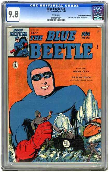 CGC Graded Comics - Blue Beetle #34 (CGC) - Menace Of X-4 - The Black Terror - Nazi - Submarine - Boat