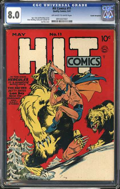 CGC Graded Comics - Hit Comics #11 (CGC) - Bears - Thriller - Red - Snow - Tree