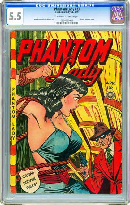 CGC Graded Comics - Phantom Lady #23 (CGC) - Phantom Lady - Ropes - Crime Never Pays - Pistol - Red Suit