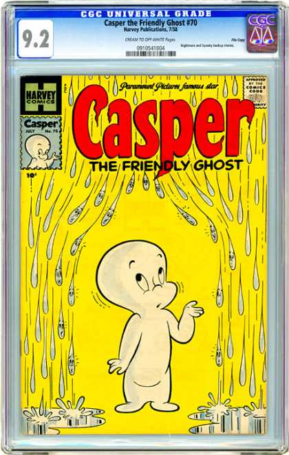 CGC Graded Comics - Casper the Friendly Ghost #70 (CGC) - Casper The Friendly Ghost - Rain - Puddles - Casper - Yellow