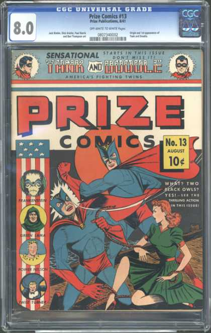 CGC Graded Comics - Prize Comics #13 (CGC) - Yank - Double - Black Owl - Green Lama - Power Nelson