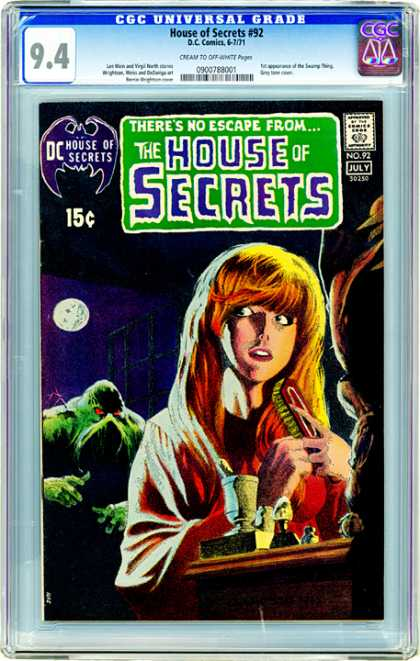 CGC Graded Comics - House of Secrets #92 (CGC) - House Of Secrets - Swamp Thing - Silver Age - Damsel In Distress - Hair Brushing