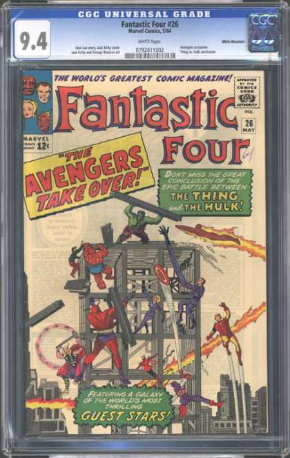 CGC Graded Comics - Fantastic Four #26 (CGC) - Superheroes - Mutants - The Avengers Take Over - Fire - Fighting