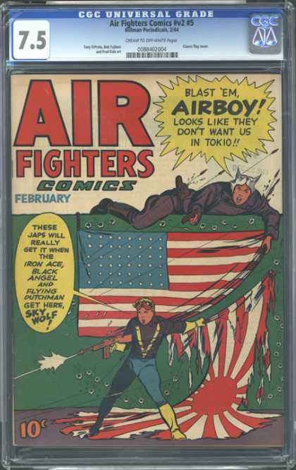 CGC Graded Comics - Air Fighters Comics #v2 #5 (CGC) - Air Fighters Comics - No 5 - Airboy - Sky Wolf - Iron Ace