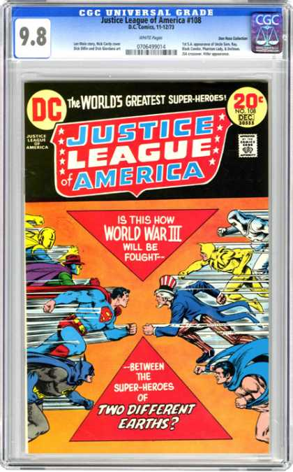 CGC Graded Comics - Justice League of America #108 (CGC) - Super Heroes - Superman - World War Iii - Earths - Different