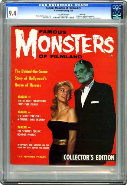 CGC Graded Comics - Famous Monsters of Filmland #1 (CGC) - Monsters - Collectors Edition - The 10 Most Frightining Faces Ever Filmed - Woman - Filmland