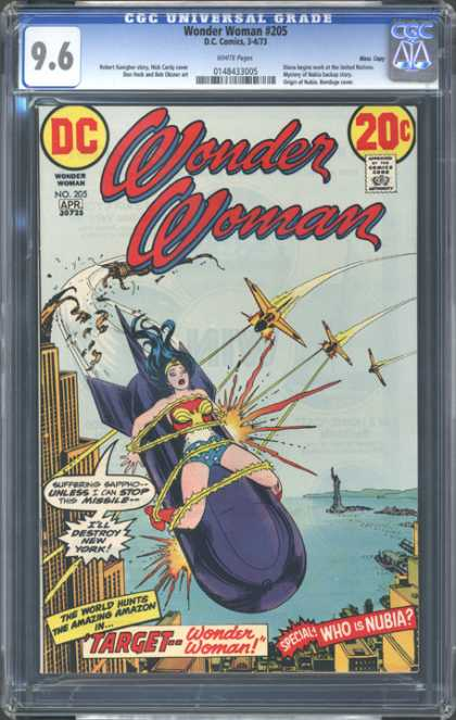 CGC Graded Comics - Wonder Woman #205 (CGC) - New York - Who Is Nubia - Target - Airplanes - Missile