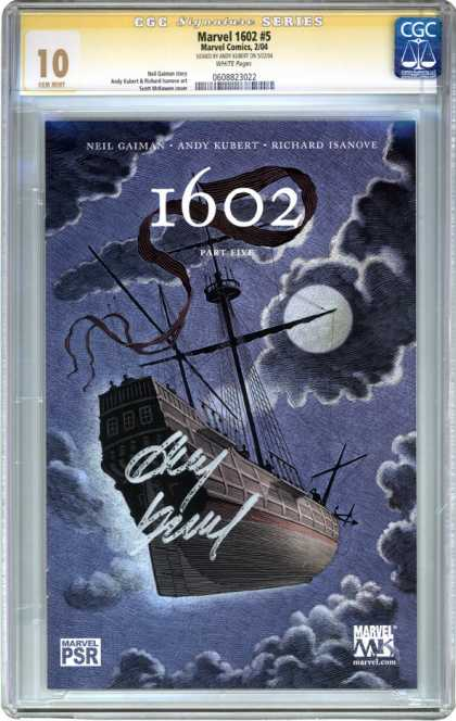CGC Graded Comics - Marvel 1602 #5 (CGC) - Night - Flying Ship - Full Moon - Andy Kubert - Neil Gaiman