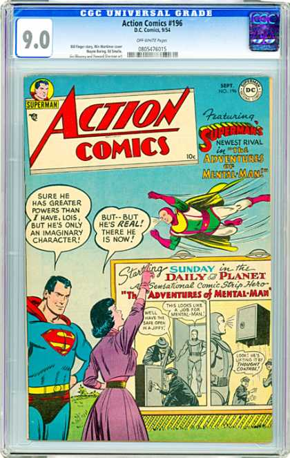 CGC Graded Comics - Action Comics #196 (CGC) - Starting Sunday In The Daily Planet - Adventures Of Mental Man - He Sure Has Grater Powers Than I Have - This Looks Like A Job For Mental Man - Well Have The Safe Open In A Jiffy
