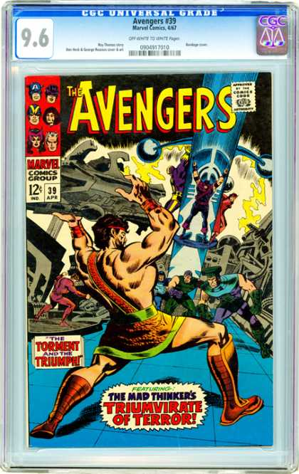 CGC Graded Comics - Avengers #39 (CGC) - The Avengers - Marvel Comics - Capain America - Torment And Triumph - The Mad Thinkers Triumvirate Of Terror