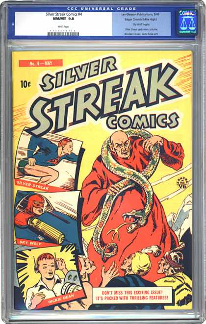 CGC Graded Comics - Silver Streak Comics #4 (CGC) - Silver Streak Comics - Snake - Running - Race Car Driving - Headphones