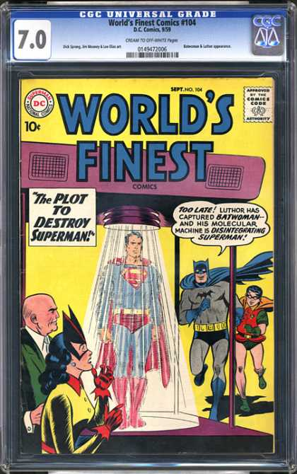 CGC Graded Comics - World's Finest Comics #104 (CGC) - Super-shower - Game Rained Off - Super Destruction - Power Shower - Molecular Machine Mangles Mightiest Man