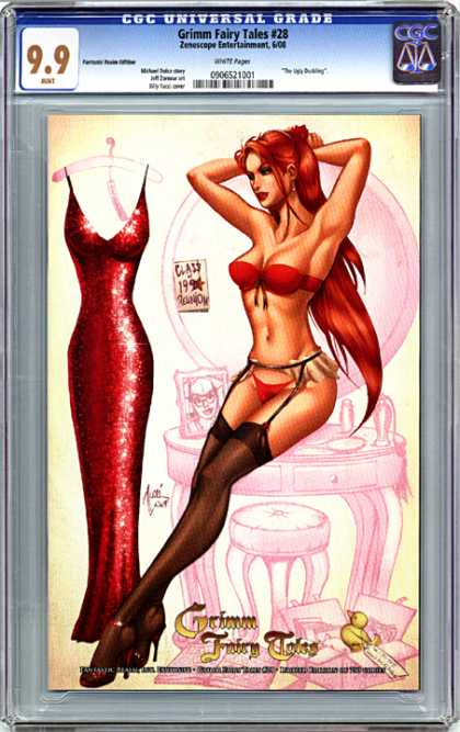 CGC Graded Comics - Grimm Fairy Tales #28 (CGC) - Hot Redhead - Bra And Panties - Garder Belt - Black Stockings - Red Dress Hanging On The Wall