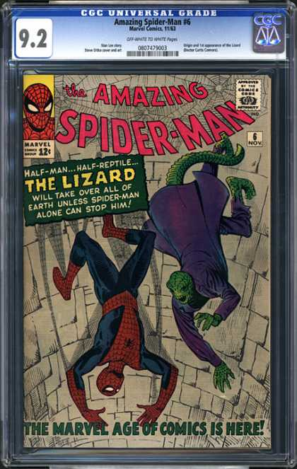 CGC Graded Comics - Amazing Spider-Man #6 (CGC) - Amaizing Spider-man - Lizard - Half-man - Marvel - Superhero