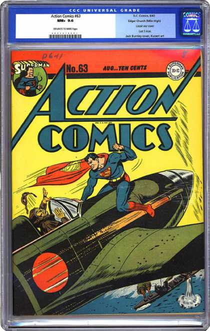 CGC Graded Comics - Action Comics #63 (CGC) - Superman - Plane - Battleship - Sea - Japanese