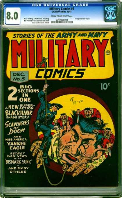 CGC Graded Comics - Military Comics #5 (CGC) - Blackhawk - Scavengers Of Doom - Yankee Eagle - Bismark - Army