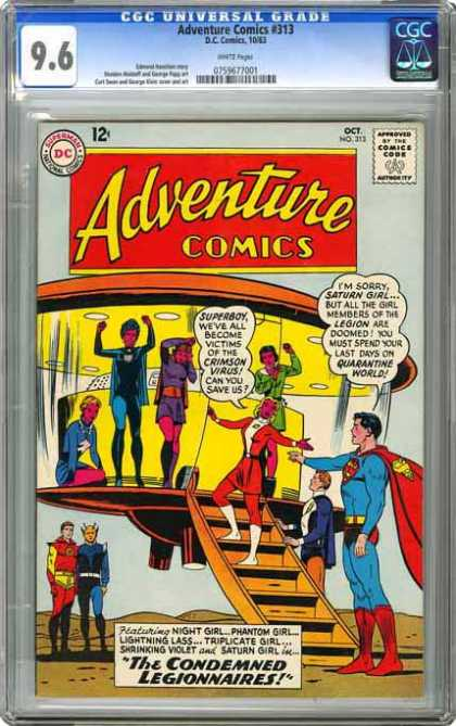 CGC Graded Comics - Adventure Comics #313 (CGC) - People - Stairs - Cape - Space Craft - Red