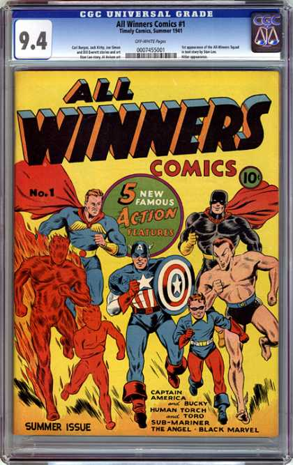 CGC Graded Comics - All Winners Comics #1 (CGC) - Superheroes - Captain America - Human Torch - Sub-mariner - The Angel