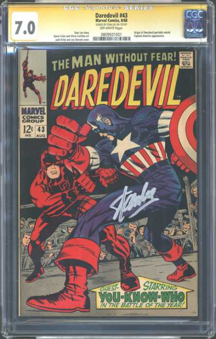 CGC Graded Comics - Daredevil #43 (CGC) - Daredevil - The Man Without Fear - Costume - Battle - Marvel