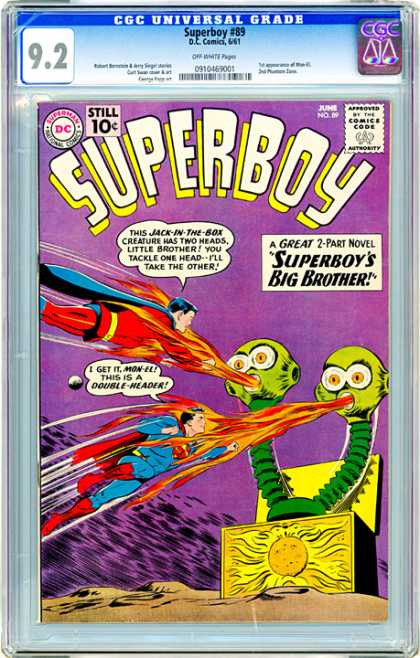 CGC Graded Comics - Superboy #89 (CGC) - 2-part Novel - Jack-in-the-box Creature - Big Brother - Tackle - Two Heads