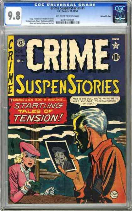 CGC Graded Comics - Crime SuspenStories #1 (CGC) - Startling Tales Of Tension - Suspense Stories - Watching The Photo - One Old Man - One Girl
