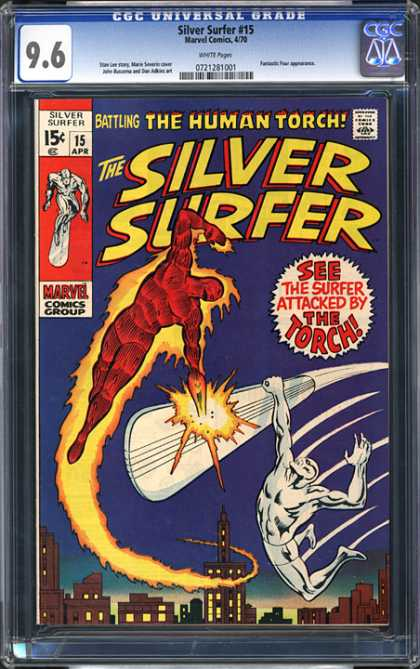 CGC Graded Comics - Silver Surfer #15 (CGC) - Cgc - Marvel Comics - Silver Surfer - The Torch - Human Torch