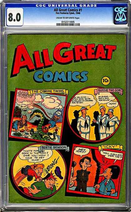 CGC Graded Comics - All Great Comics #1 (CGC) - Twins - Sailors - Snake - Picnic - Hit On Head
