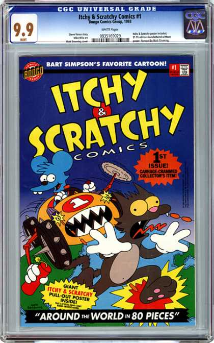 CGC Graded Comics - Itchy & Scratchy Comics #1 (CGC) - Car - Cracker - Robber - Run - Chase