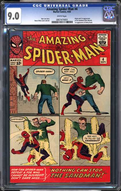 CGC Graded Comics - Amazing Spider-Man #4 (CGC) - Nothing Can Stop The Sandman - Foe - Punch - Grab - Swing On Web
