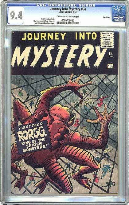 CGC Graded Comics - Journey Into Mystery #64 (CGC) - Mystery - Rorgg - Spider Monsters - Web - King