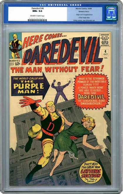 CGC Graded Comics - Daredevil #4 (CGC) - Here Comesdaredevil - The Man Without Fear - Marvel - The World Calls Him The Purple Man - Dont Miss The Great New Letters Section