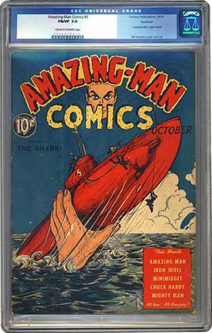 CGC Graded Comics - Amazing-Man Comics #6 (CGC) - 10 Cents - October - The Shark - Ship - Amazing-man
