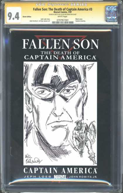 CGC Graded Comics - Fallen Son: The Death of Captain America #3 (CGC) - Death Of - Captain America - Jeph Loeb - John Romita Jr - Sketch
