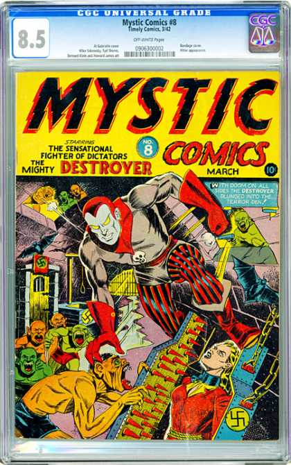 CGC Graded Comics - Mystic Comics #8 (CGC) - March - Mystic Comics - The Mighty Destroyer - The Sensationa Fighter Of Dictators - Nazi