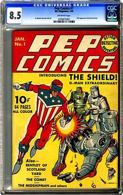 CGC Graded Comics - Pep Comics #1 (CGC) - Pep Comics - The Shield - Introducing - Robots - Funs