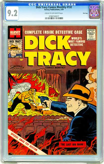 CGC Graded Comics - Dick Tracy Comics Monthly #132 (CGC) - Harvey Comics - Approved By The Comics Code - Dick Tracy - Gun - The Last Big Show