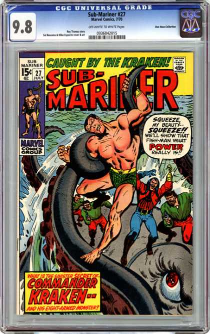 CGC Graded Comics - Sub-Mariner #27 (CGC) - Caught By The Kraken - Marvel Comics - Green Trunks - Red Shirt - Red Eye