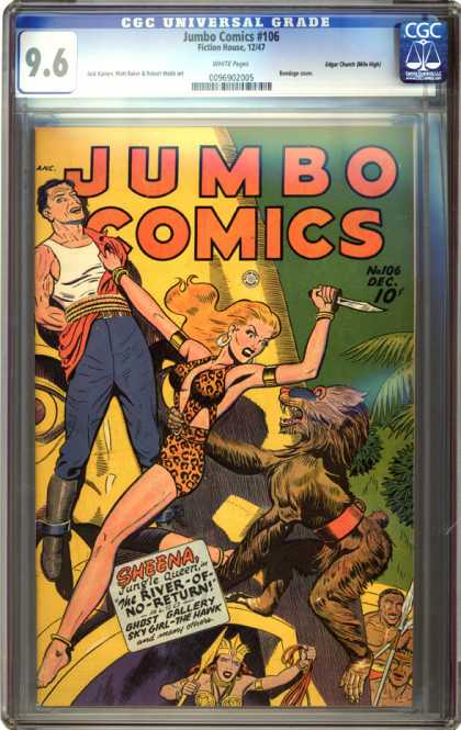 CGC Graded Comics - Jumbo Comics #106 (CGC) - Sky Girl - The Hawk - Jungle Queen - The River Of No Return - Sheena